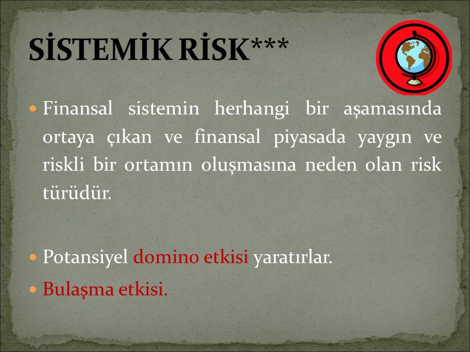 Finansal sistemin herhangi bir aşamasında ortaya çıkan ve finansal piyasada yaygın ve riskli bir ortamın oluşmasına neden olan risk türüdür. Potansiye