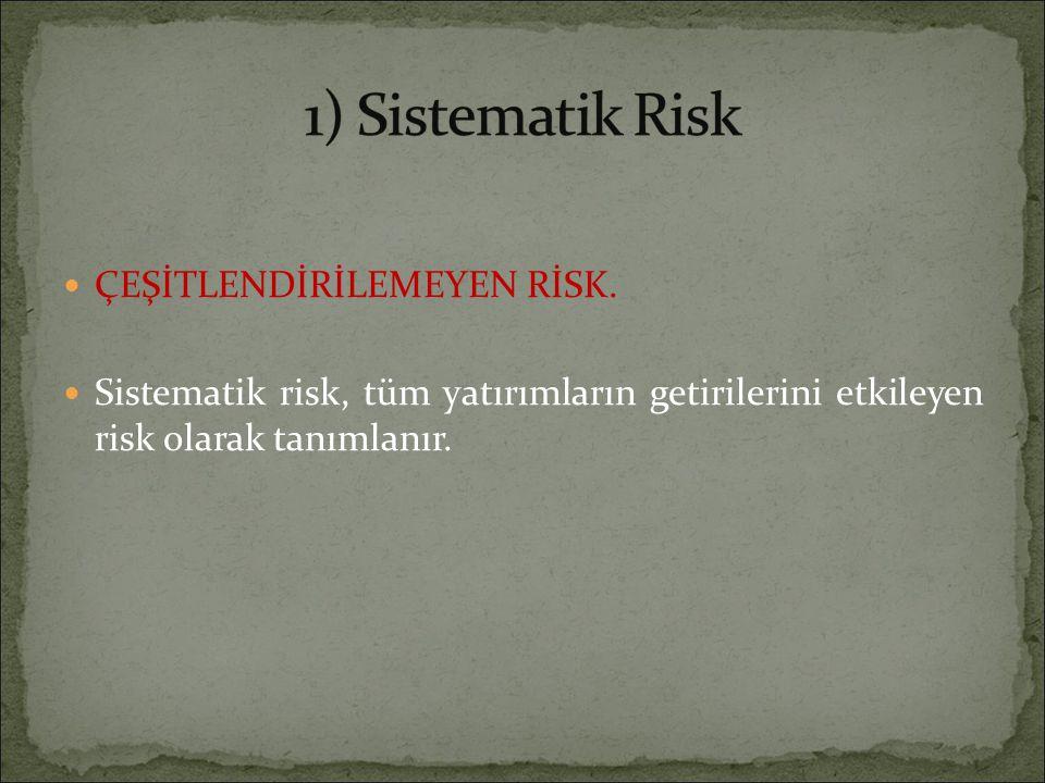 ÇEŞİTLENDİRİLEMEYEN RİSK. Sistematik risk, tüm yatırımların getirilerini etkileyen risk olarak tanımlanır.