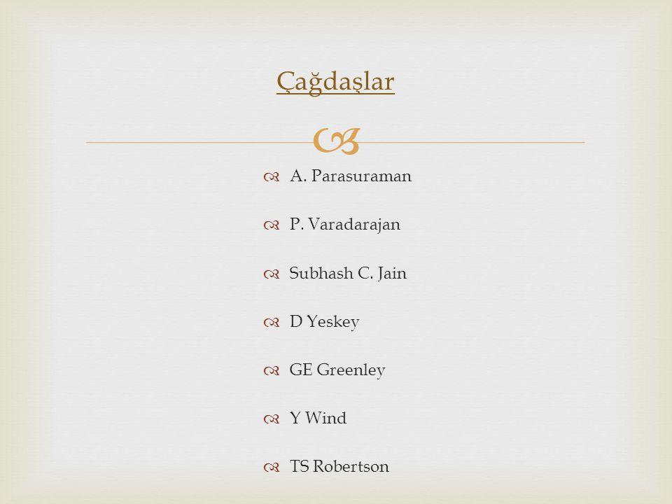   A. Parasuraman  P. Varadarajan  Subhash C. Jain  D Yeskey  GE Greenley  Y Wind  TS Robertson Çağdaşlar