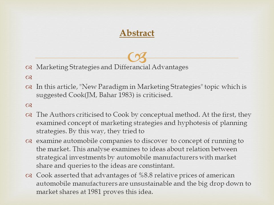   Marketing Strategies and Differancial Advantages   In this article,