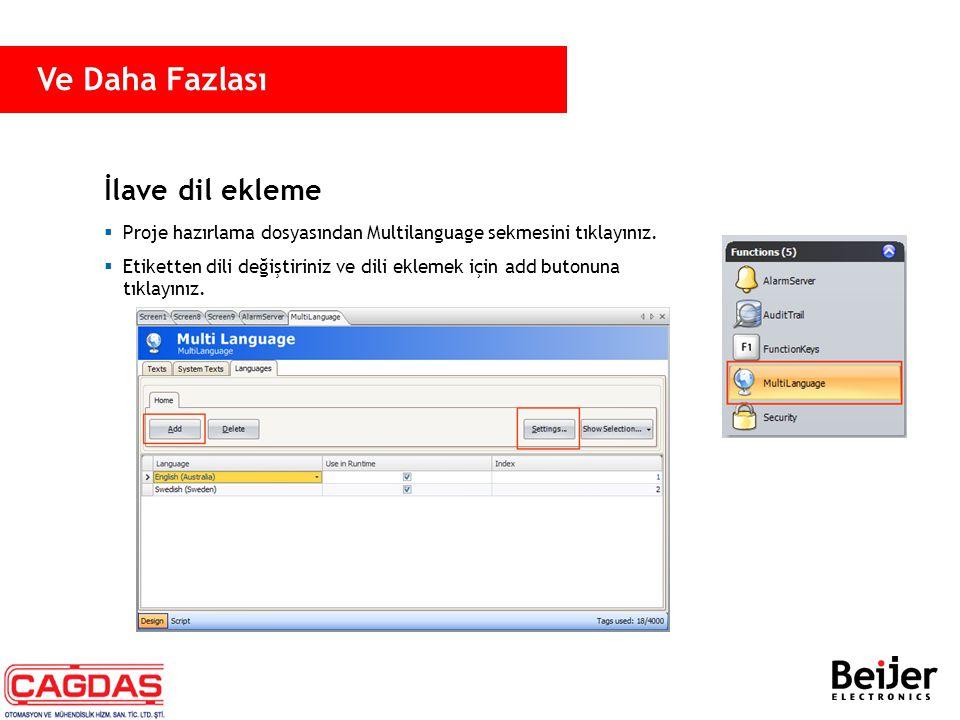 İlave dil ekleme  Proje hazırlama dosyasından Multilanguage sekmesini tıklayınız.  Etiketten dili değiştiriniz ve dili eklemek için add butonuna tık