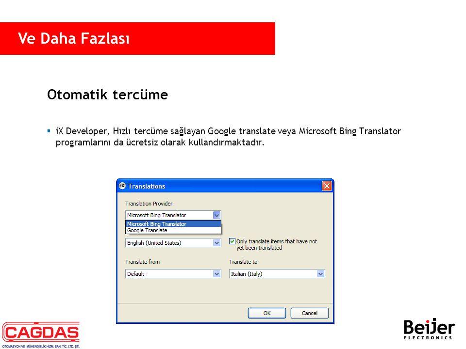 Otomatik tercüme  iX Developer, Hızlı tercüme sağlayan Google translate veya Microsoft Bing Translator programlarını da ücretsiz olarak kullandırmakt