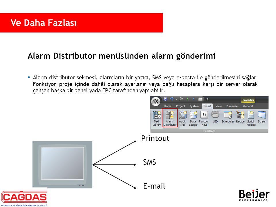 Alarm Distributor menüsünden alarm gönderimi Printout SMS E-mail  Alarm distributor sekmesi, alarmların bir yazıcı, SMS veya e-posta ile gönderilmesi