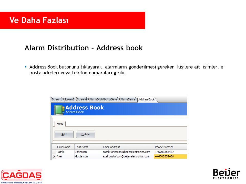 Alarm Distribution - Address book  Address Book butonunu tıklayarak, alarmların gönderilmesi gereken kişilere ait isimler, e- posta adreleri veya tel