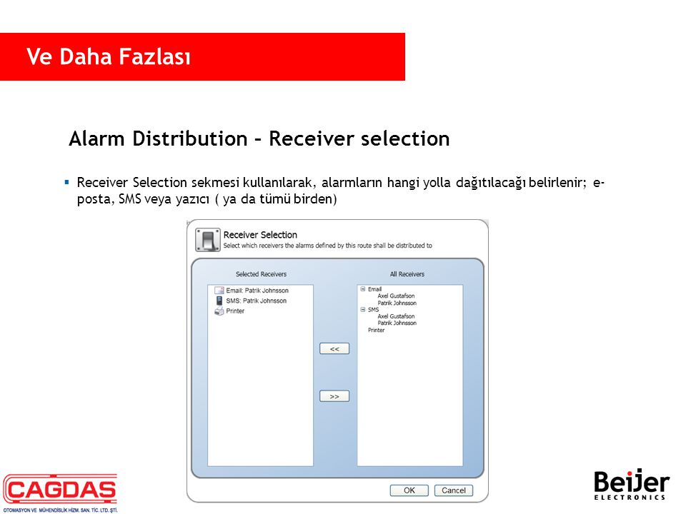 Alarm Distribution – Receiver selection  Receiver Selection sekmesi kullanılarak, alarmların hangi yolla dağıtılacağı belirlenir; e- posta, SMS veya