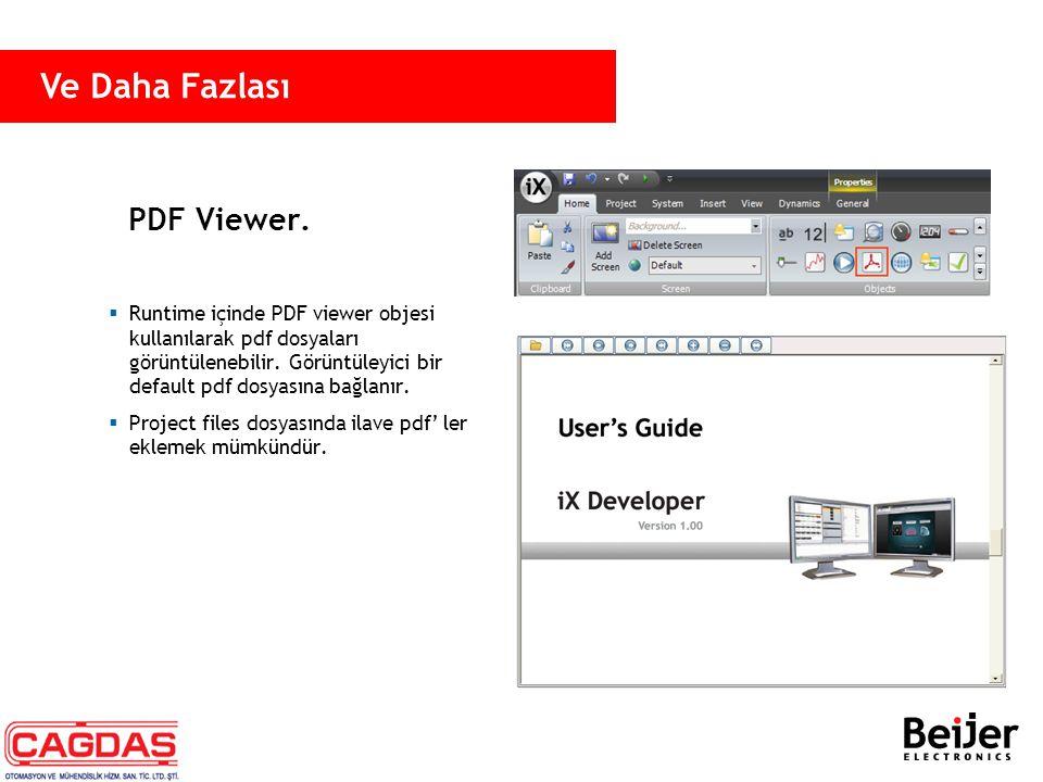 PDF Viewer.  Runtime içinde PDF viewer objesi kullanılarak pdf dosyaları görüntülenebilir. Görüntüleyici bir default pdf dosyasına bağlanır.  Projec