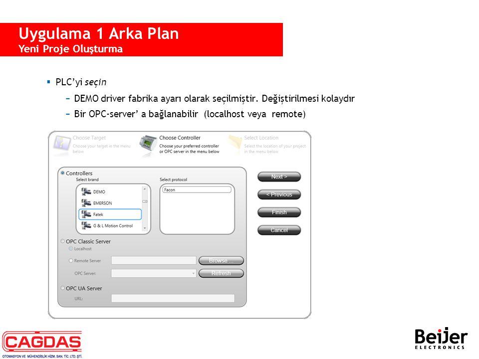  PLC'yi seçin −DEMO driver fabrika ayarı olarak seçilmiştir. Değiştirilmesi kolaydır −Bir OPC-server' a bağlanabilir (localhost veya remote) Uygulama