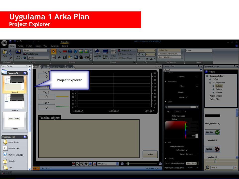  Project Explorer menüsü, uygulamada yer alan tüm ekran ve fonksiyonları içerir.