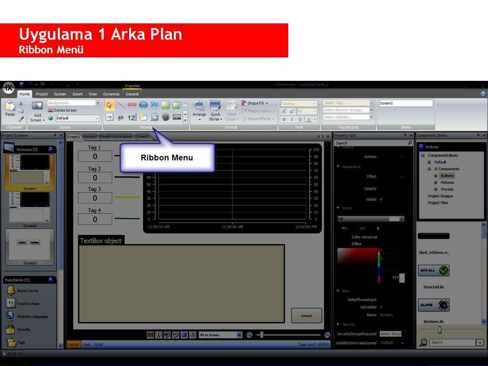  Home menüsü: −Paste/copy/cut −HMI ve Windows objeleri −Görsel stil (renk, font vs.) −Tag, güvenlik grubu ve görünürlük −Obje ismi  Proje menüsü: −Bir projeyi onayla, çalıştır, simule veya transfer et −Çizgi stili −Klavye konfigurasyonu Uygulama 1 Arka Plan Ribbon Menü – Home - Project