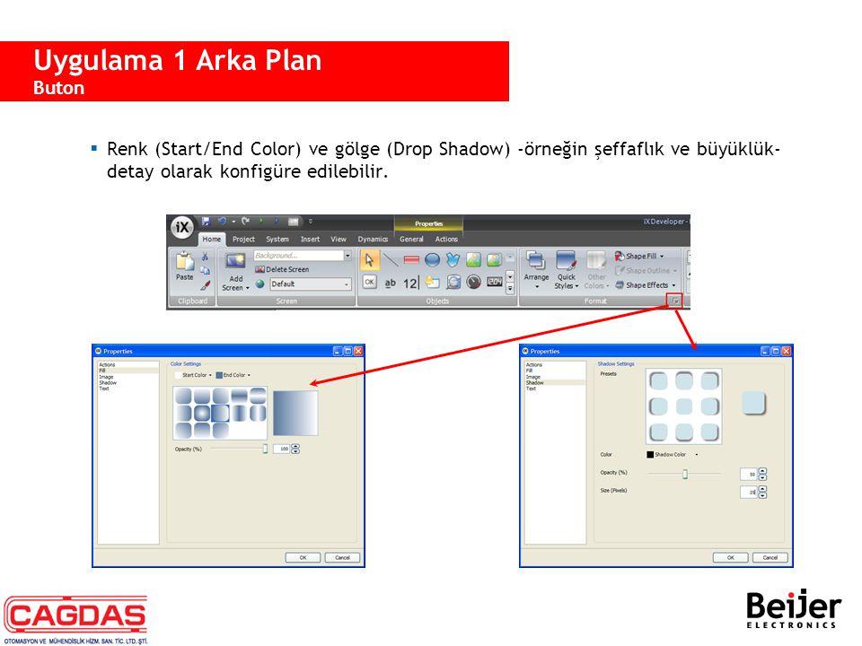  Düğmenin şekli Property Grid sekmesi veya Appearance property sekmesi ile ayarlanabilir.