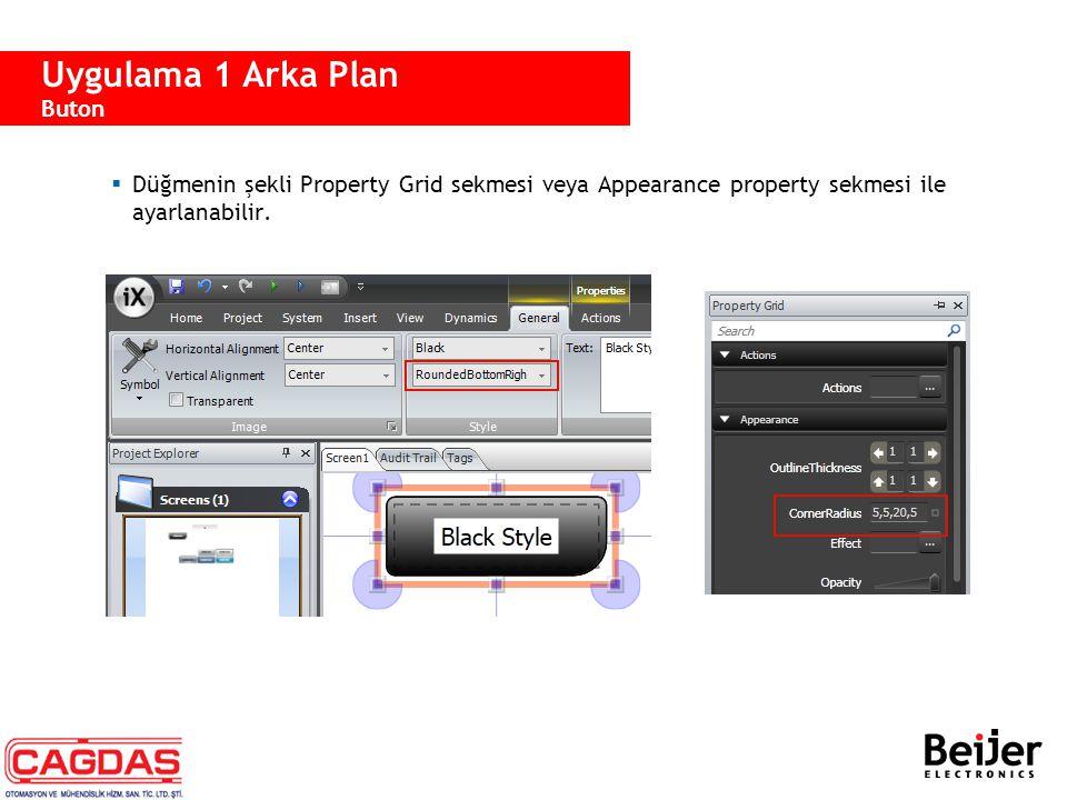  Düğmenin şekli Property Grid sekmesi veya Appearance property sekmesi ile ayarlanabilir. Uygulama 1 Arka Plan Buton