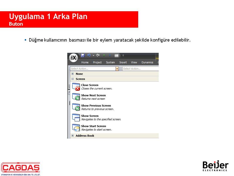  Düğme kullanıcının basması ile bir eylem yaratacak şekilde konfigüre edilebilir. Uygulama 1 Arka Plan Buton