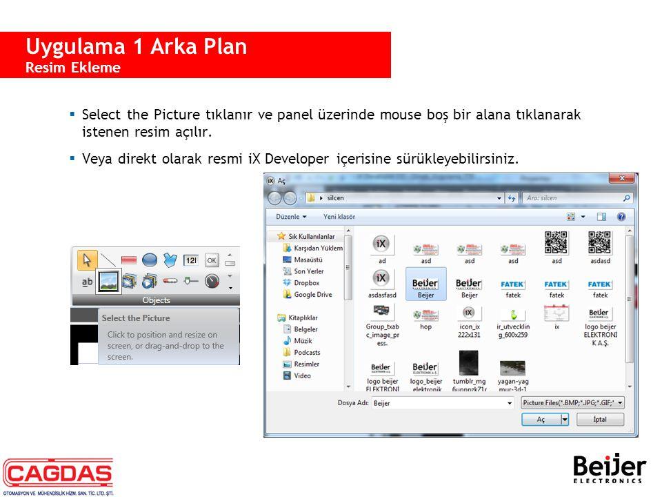  Select the Picture tıklanır ve panel üzerinde mouse boş bir alana tıklanarak istenen resim açılır.  Veya direkt olarak resmi iX Developer içerisine
