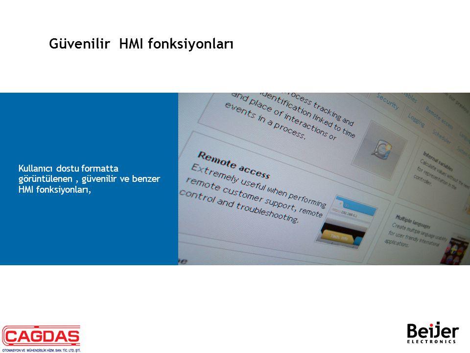 Güvenilir HMI fonksiyonları −Alarm yönetimi  Alarmları yöneterek,kullanıcıyı;ekranlar, yazıcı, sms veya hareket gerektiren olaylarla bilgilendirir.