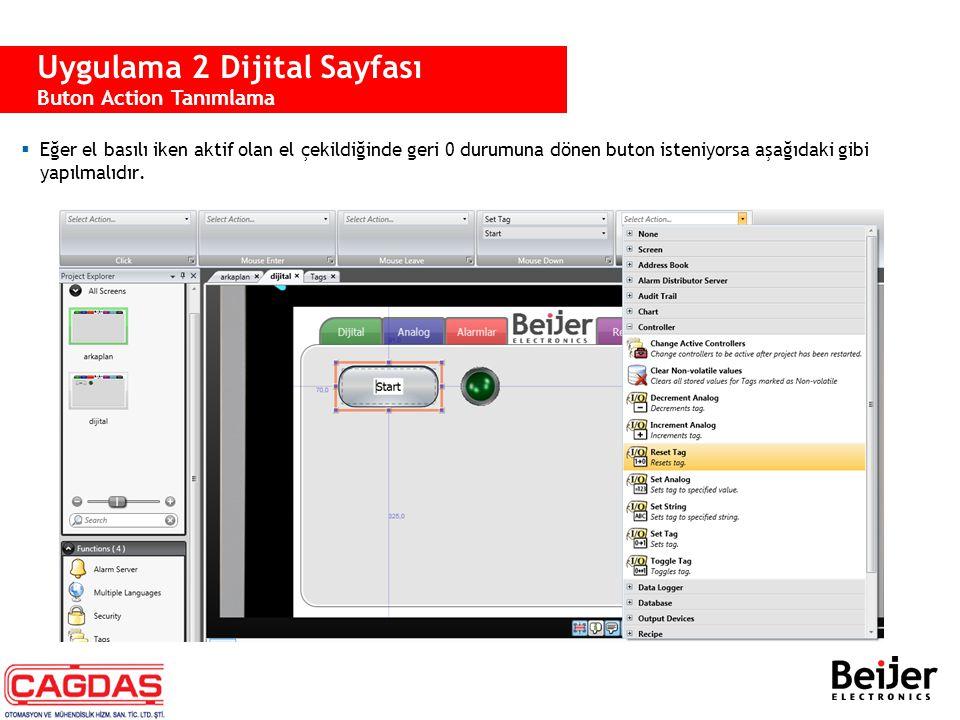 Uygulama 2 Dijital Sayfası Buton Action Tanımlama  Eğer el basılı iken aktif olan el çekildiğinde geri 0 durumuna dönen buton isteniyorsa aşağıdaki g