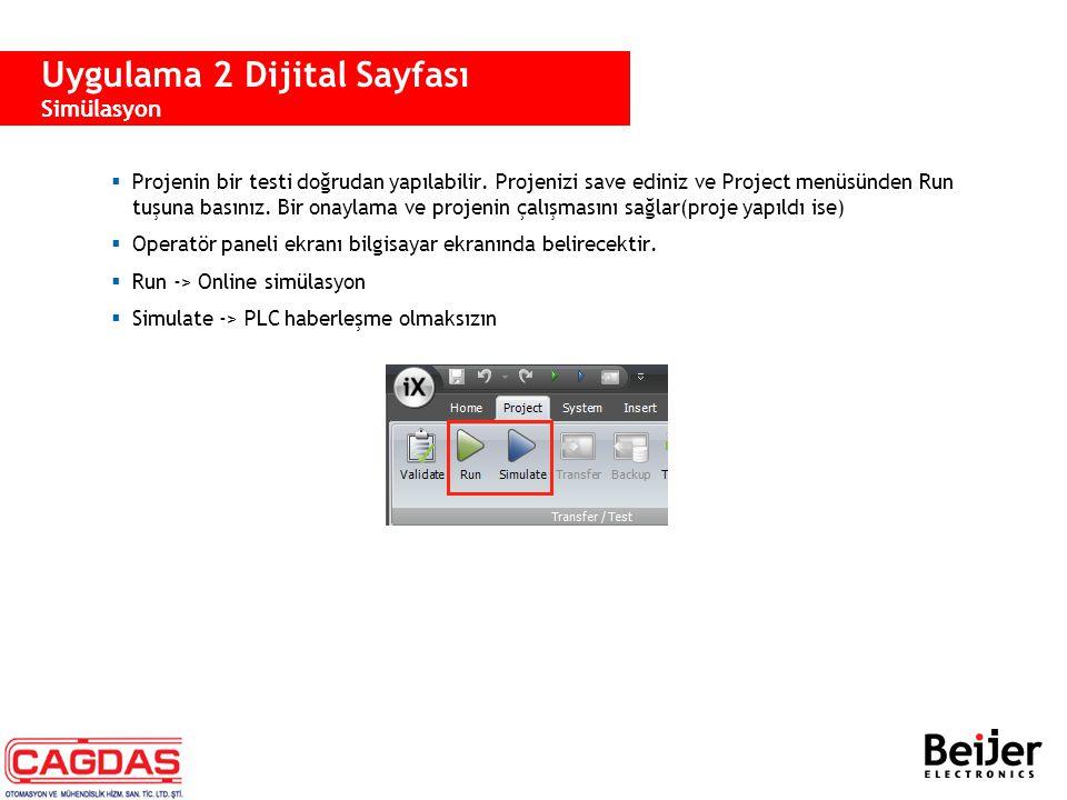  Projenin bir testi doğrudan yapılabilir. Projenizi save ediniz ve Project menüsünden Run tuşuna basınız. Bir onaylama ve projenin çalışmasını sağlar
