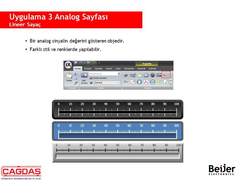  Bir analog sinyalin değerini gösteren objedir.  Farklı stil ve renklerde yapılabilir. Uygulama 3 Analog Sayfası Lineer Sayaç