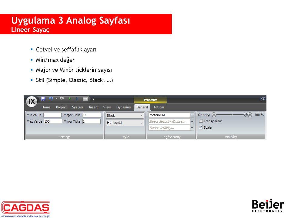  Cetvel ve şeffaflık ayarı  Min/max değer  Major ve Minör ticklerin sayısı  Stil (Simple, Classic, Black, …) Uygulama 3 Analog Sayfası Lineer Saya