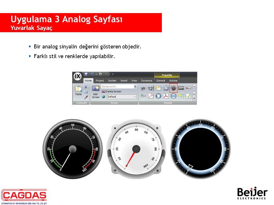  Bir analog sinyalin değerini gösteren objedir.  Farklı stil ve renklerde yapılabilir. Uygulama 3 Analog Sayfası Yuvarlak Sayaç