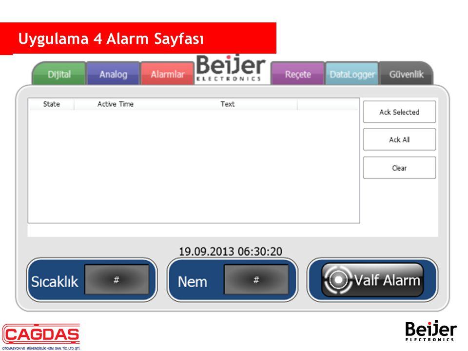  Panel üzerinde alarm uygulaması −Alarmlar bir database(compact SQL) üzerine kayıt edilir −Alarmlar, Alarm Viewer üzerinde sunulabilir −Analog ve dijital sinyalleri destekler −Alarm metinleri metin üzerinde dinamik tag olarak ayarlanabilir.