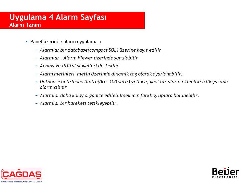  Panel üzerinde alarm uygulaması −Alarmlar bir database(compact SQL) üzerine kayıt edilir −Alarmlar, Alarm Viewer üzerinde sunulabilir −Analog ve dij
