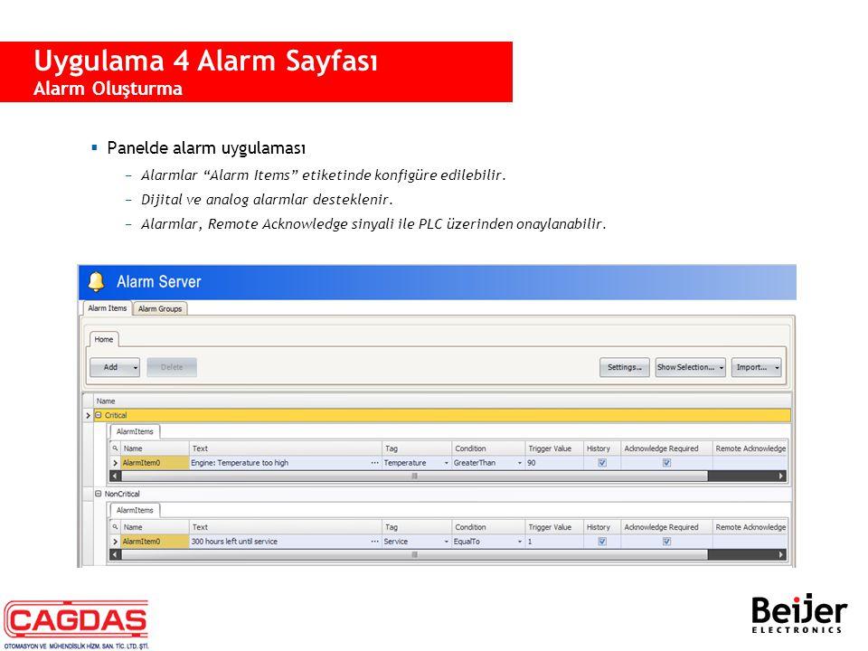 """ Panelde alarm uygulaması −Alarmlar """"Alarm Items"""" etiketinde konfigüre edilebilir. −Dijital ve analog alarmlar desteklenir. −Alarmlar, Remote Acknowl"""