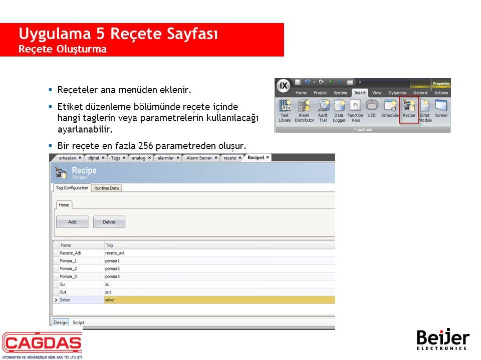 Uygulama 5 Reçete Sayfası Reçete Oluşturma  Reçeteler ana menüden eklenir.  Etiket düzenleme bölümünde reçete içinde hangi taglerin veya parametrele