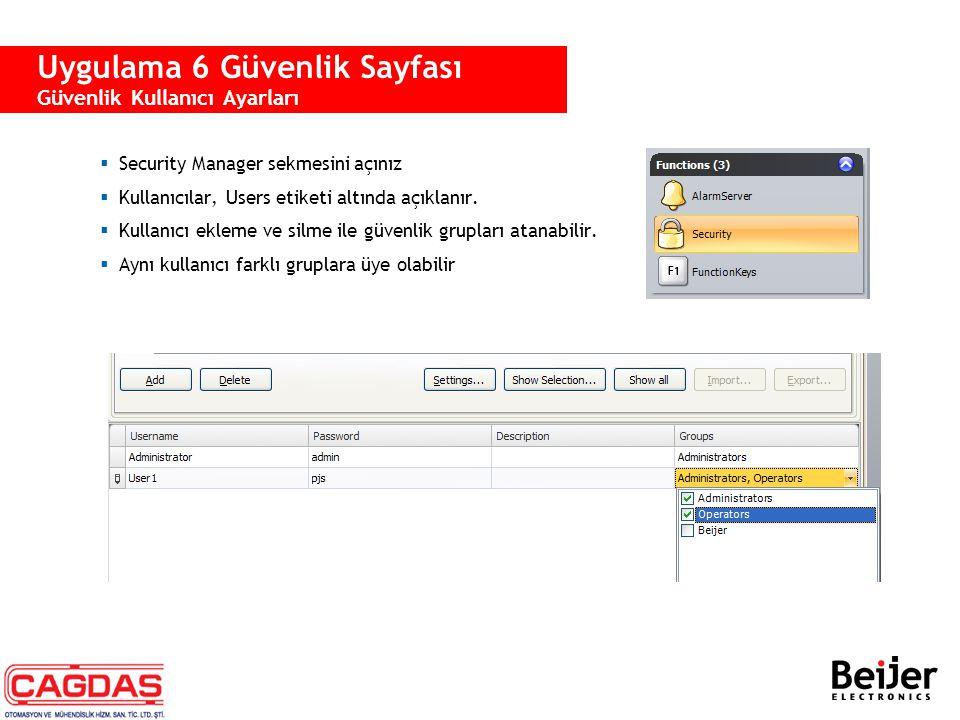  Security Manager sekmesini açınız  Kullanıcılar, Users etiketi altında açıklanır.  Kullanıcı ekleme ve silme ile güvenlik grupları atanabilir.  A