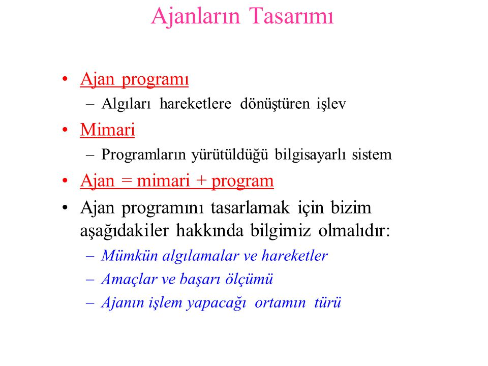 2 durumlu elektrik süpürgesi ortamında çalışan basit refleks ajanı için ajan programı function R EFLEKS -S ÜPÜRGE -AJANI([konum,durum]) returns eylem if durum = Kirli then return Temizle else if konum = A then return Sağ else if konum = B then return Sol