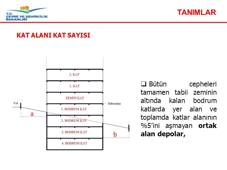  katlar alanına (emsal); Madde 16 - Yapı düzenine ait tanımlar - Kat alanı kat sayısı  Bütün cepheleri tamamen tabii zeminin altında kalan bodrum ka