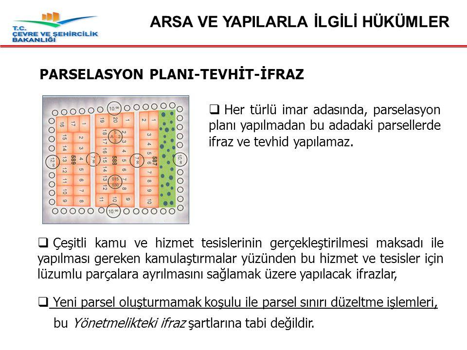Madde 19 – Parselasyon Planı-Tevhit-İfraz  Her türlü imar adasında, parselasyon planı yapılmadan bu adadaki parsellerde ifraz ve tevhid yapılamaz. 