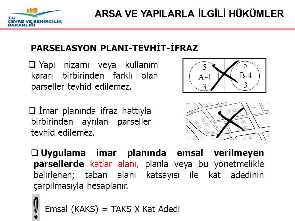 Madde 19 – Parselasyon Planı-Tevhit-İfraz  Uygulama imar planında emsal verilmeyen parsellerde katlar alanı, planla veya bu yönetmelikle belirlenen; taban alanı katsayısı ile kat adedinin çarpılmasıyla hesaplanır.