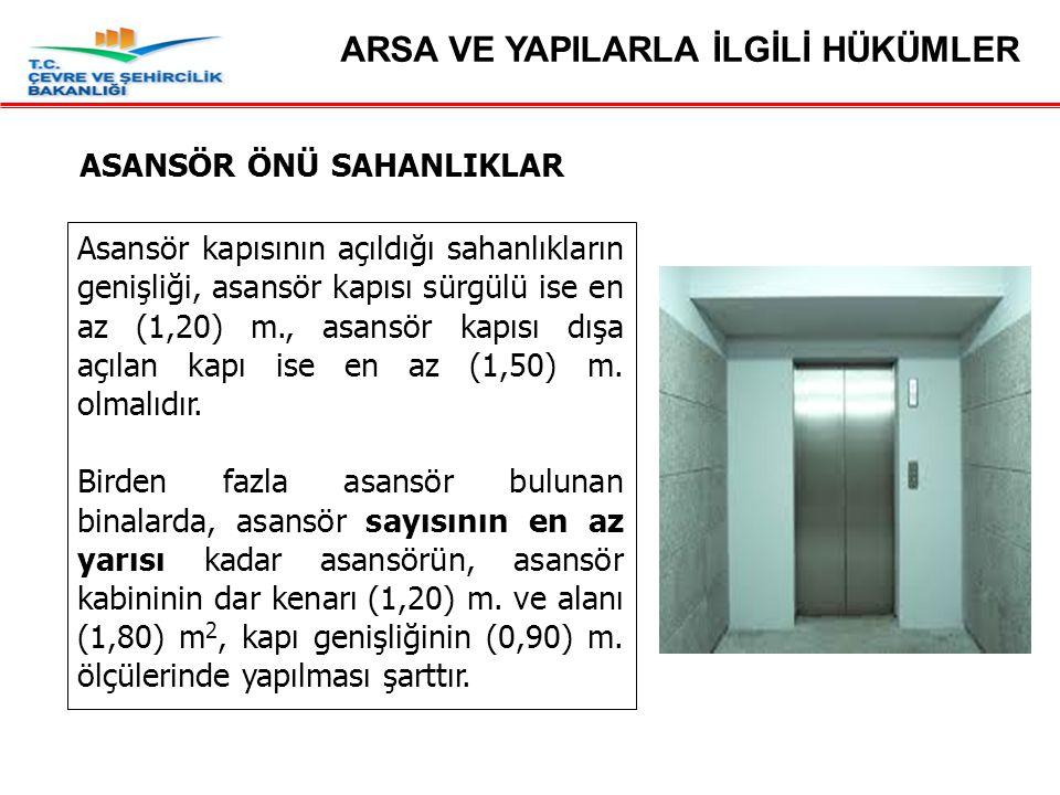 ASANSÖR ÖNÜ SAHANLIKLAR Asansör kapısının açıldığı sahanlıkların genişliği, asansör kapısı sürgülü ise en az (1,20) m., asansör kapısı dışa açılan kapı ise en az (1,50) m.