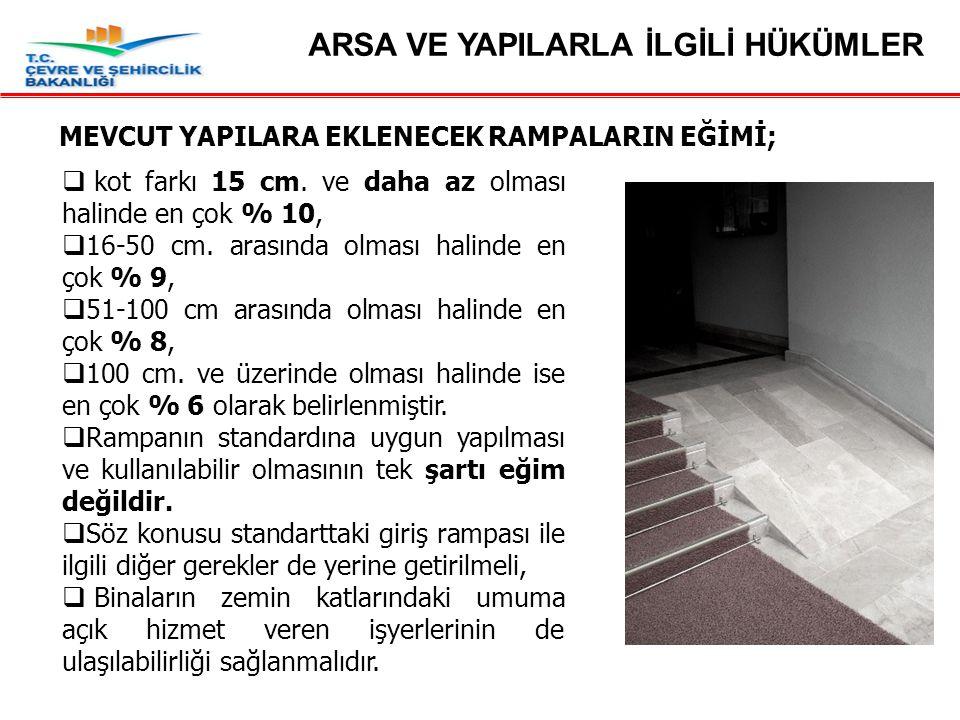 MEVCUT YAPILARA EKLENECEK RAMPALARIN EĞİMİ;  kot farkı 15 cm.