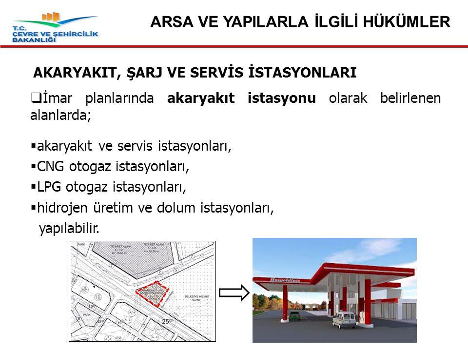 AKARYAKIT, ŞARJ VE SERVİS İSTASYONLARI  İmar planlarında akaryakıt istasyonu olarak belirlenen alanlarda;  akaryakıt ve servis istasyonları,  CNG otogaz istasyonları,  LPG otogaz istasyonları,  hidrojen üretim ve dolum istasyonları, yapılabilir.