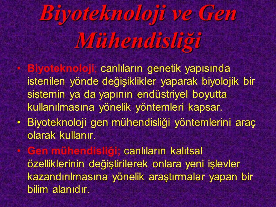 Gen mühendisleri tarafından genleri değiştirilen canlılara genetiği değiştirilmiş organizmalar(GDO) veya transgenik organizmalar adı verilir.