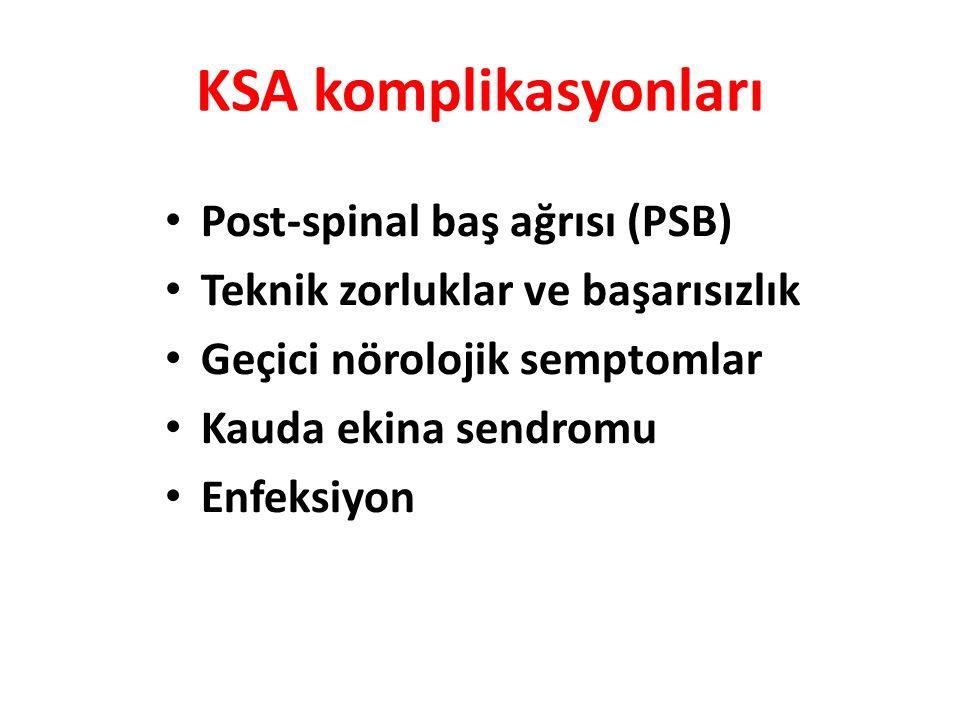 KSA komplikasyonları Post-spinal baş ağrısı (PSB) Teknik zorluklar ve başarısızlık Geçici nörolojik semptomlar Kauda ekina sendromu Enfeksiyon