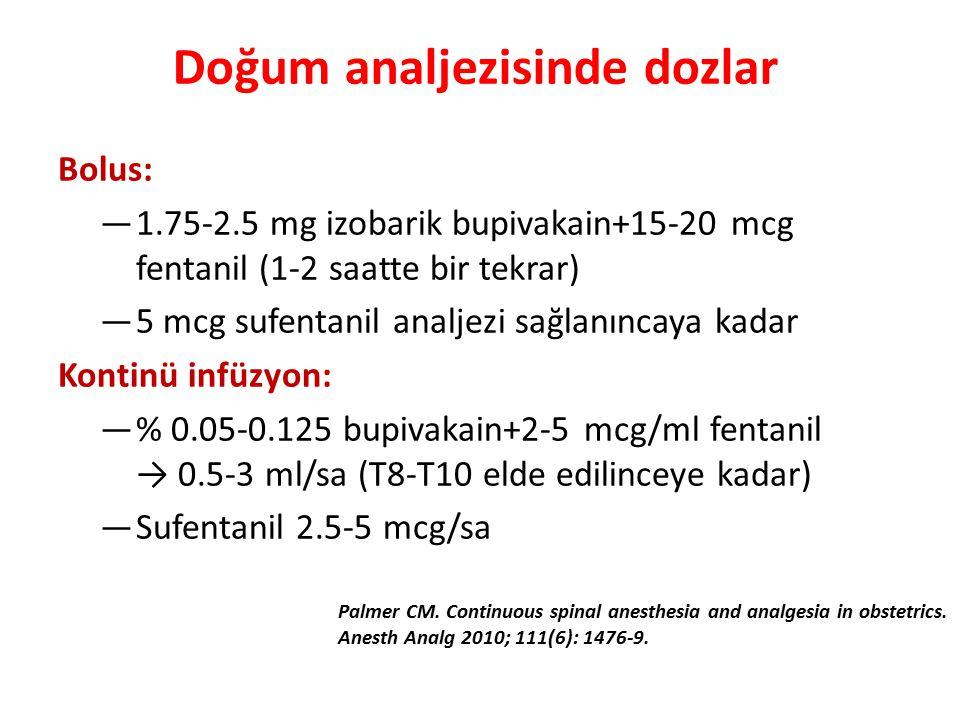 Bolus: —1.75-2.5 mg izobarik bupivakain+15-20 mcg fentanil (1-2 saatte bir tekrar) —5 mcg sufentanil analjezi sağlanıncaya kadar Kontinü infüzyon: —% 0.05-0.125 bupivakain+2-5 mcg/ml fentanil → 0.5-3 ml/sa (T8-T10 elde edilinceye kadar) —Sufentanil 2.5-5 mcg/sa Palmer CM.
