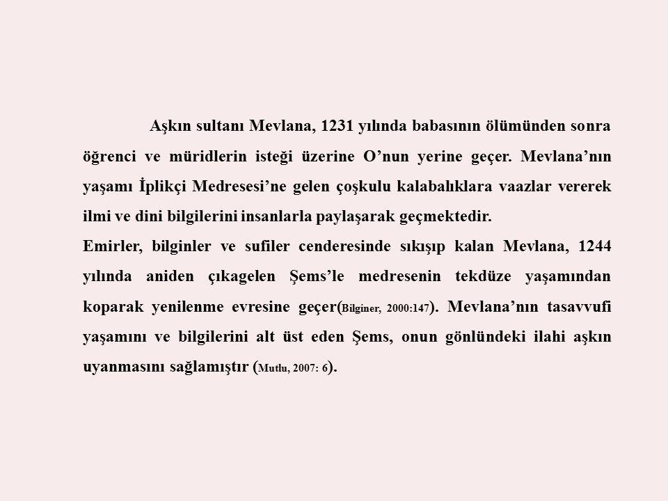 Aşkın sultanı Mevlana, 1231 yılında babasının ölümünden sonra öğrenci ve müridlerin isteği üzerine O'nun yerine geçer. Mevlana'nın yaşamı İplikçi Medr
