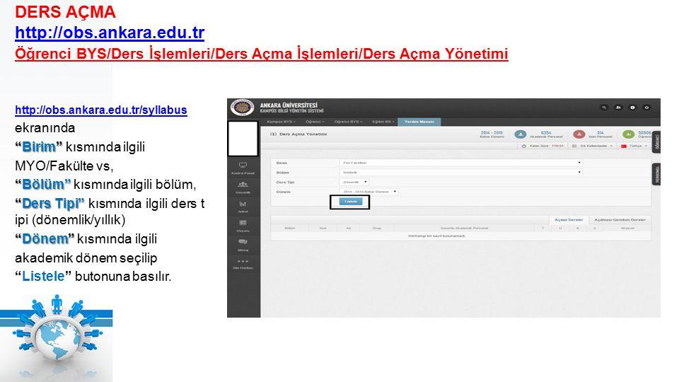 http://obs.ankara.edu.tr/syllabus ekranında Birim Birim kısmında ilgili MYO/Fakülte vs, Bölüm Bölüm kısmında ilgili bölüm, Ders Tipi Ders Tipi kısmında ilgili ders t ipi (dönemlik/yıllık) Dönem Dönem kısmında ilgili akademik dönem seçilip Listele butonuna basılır.