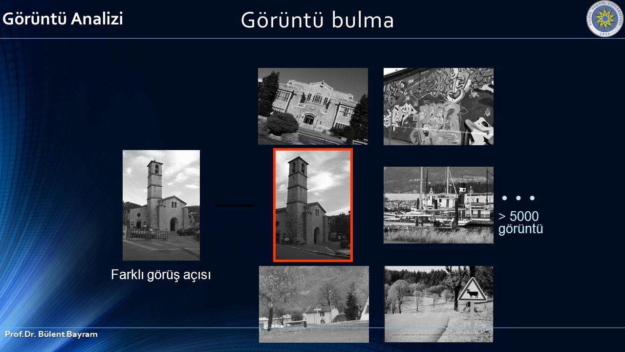 … > 5000 görüntü Farklı görüş açısı Görüntü bulma Görüntü Analizi Prof.Dr. Bülent Bayram