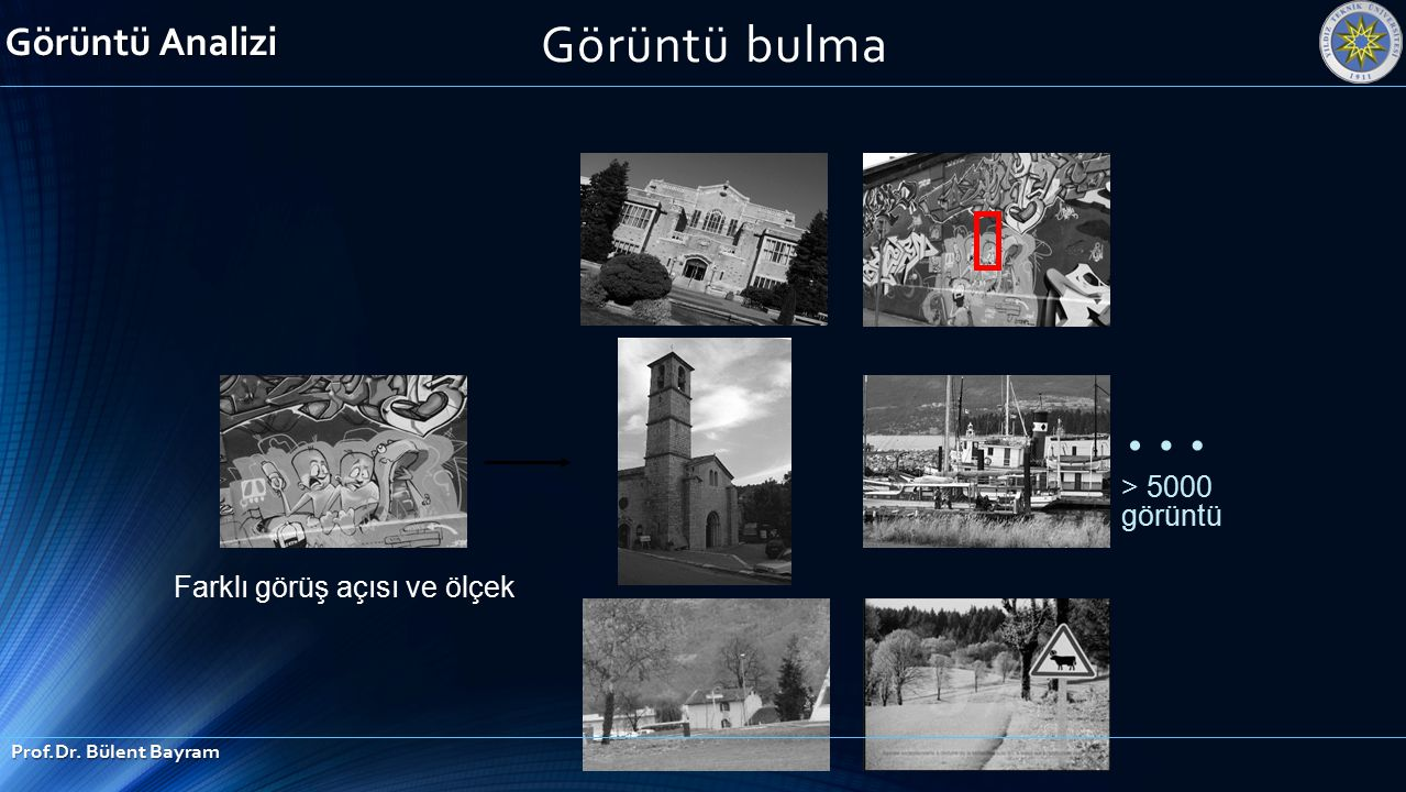… > 5000 görüntü Farklı görüş açısı ve ölçek Görüntü Analizi Prof.Dr. Bülent Bayram Görüntü bulma