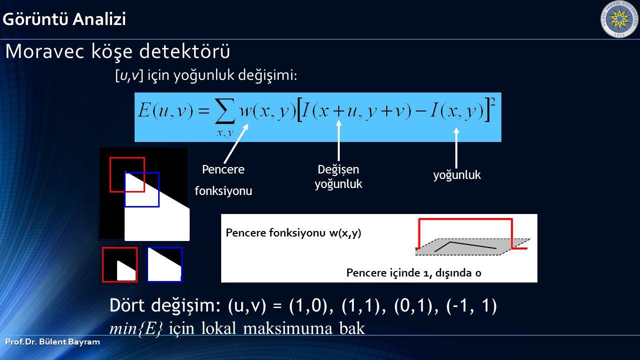 [u,v] için yoğunluk değişimi: Pencere fonksiyonu Dört değişim: (u,v) = (1,0), (1,1), (0,1), (-1, 1) min{E} için lokal maksimuma bak yoğunluk Değişen y