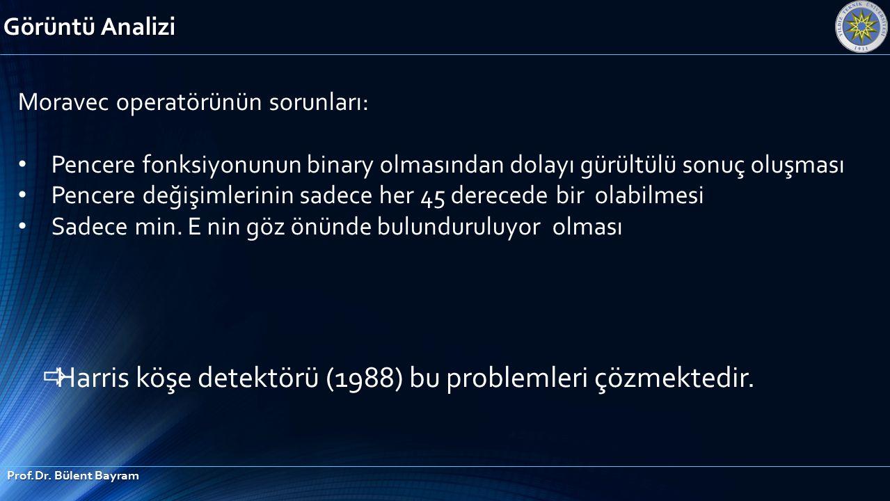 Görüntü Analizi Prof.Dr. Bülent Bayram Moravec operatörünün sorunları: Pencere fonksiyonunun binary olmasından dolayı gürültülü sonuç oluşması Pencere