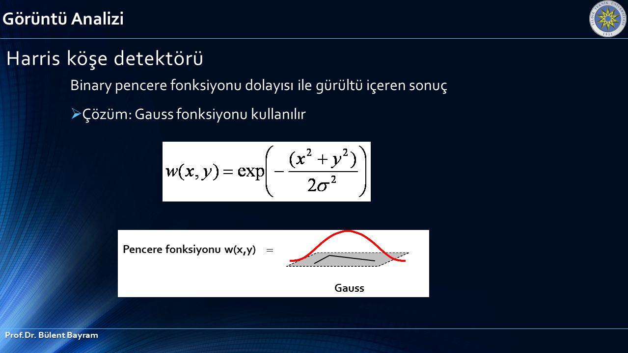 Görüntü Analizi Prof.Dr. Bülent Bayram Harris köşe detektörü Binary pencere fonksiyonu dolayısı ile gürültü içeren sonuç  Çözüm: Gauss fonksiyonu kul