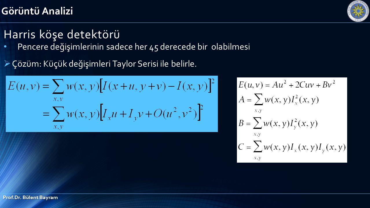Görüntü Analizi Prof.Dr. Bülent Bayram Harris köşe detektörü Pencere değişimlerinin sadece her 45 derecede bir olabilmesi  Çözüm: Küçük değişimleri T