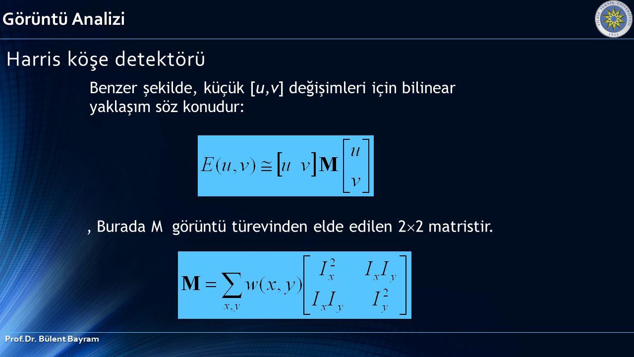 Görüntü Analizi Prof.Dr. Bülent Bayram Harris köşe detektörü Benzer şekilde, küçük [u,v] değişimleri için bilinear yaklaşım söz konudur:, Burada M gör