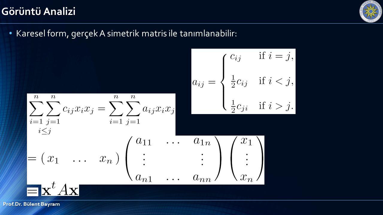 Görüntü Analizi Prof.Dr. Bülent Bayram Karesel form, gerçek A simetrik matris ile tanımlanabilir: