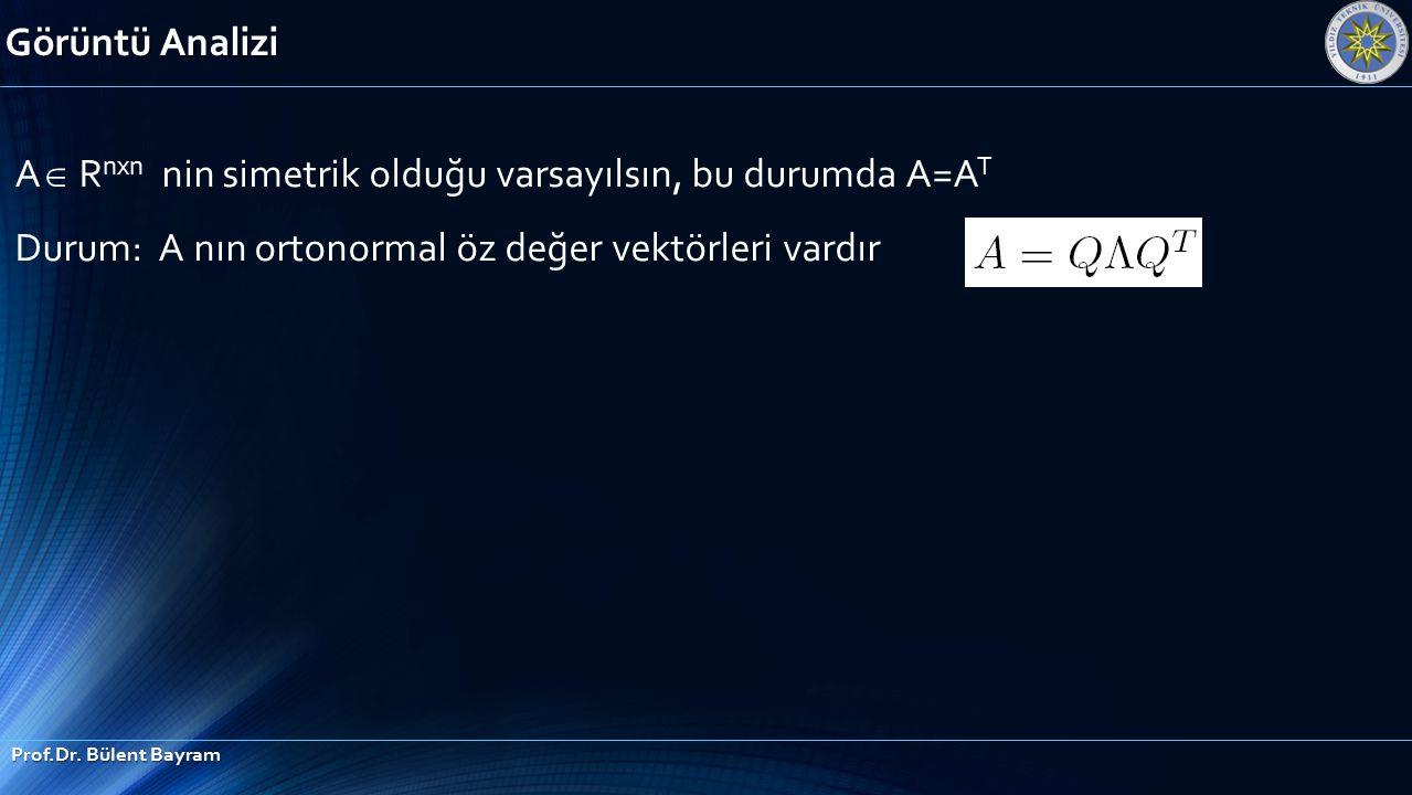 Görüntü Analizi Prof.Dr. Bülent Bayram A  R nxn nin simetrik olduğu varsayılsın, bu durumda A=A T Durum: A nın ortonormal öz değer vektörleri vardır