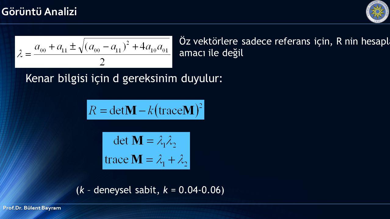 Görüntü Analizi Prof.Dr. Bülent Bayram Kenar bilgisi için d gereksinim duyulur: (k – deneysel sabit, k = 0.04-0.06) Öz vektörlere sadece referans için